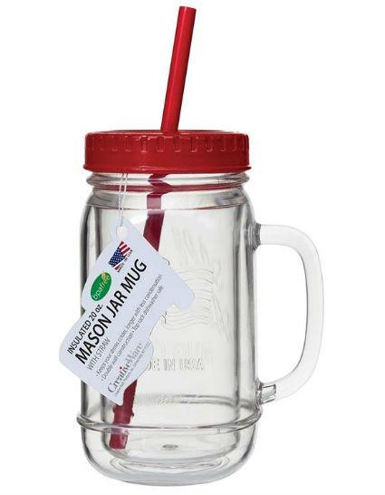 MAS01RD Mason Jar Mug Red