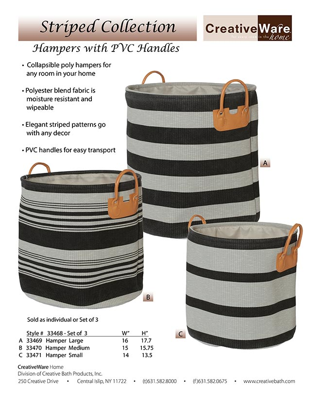 Striped Hamper w/Handles